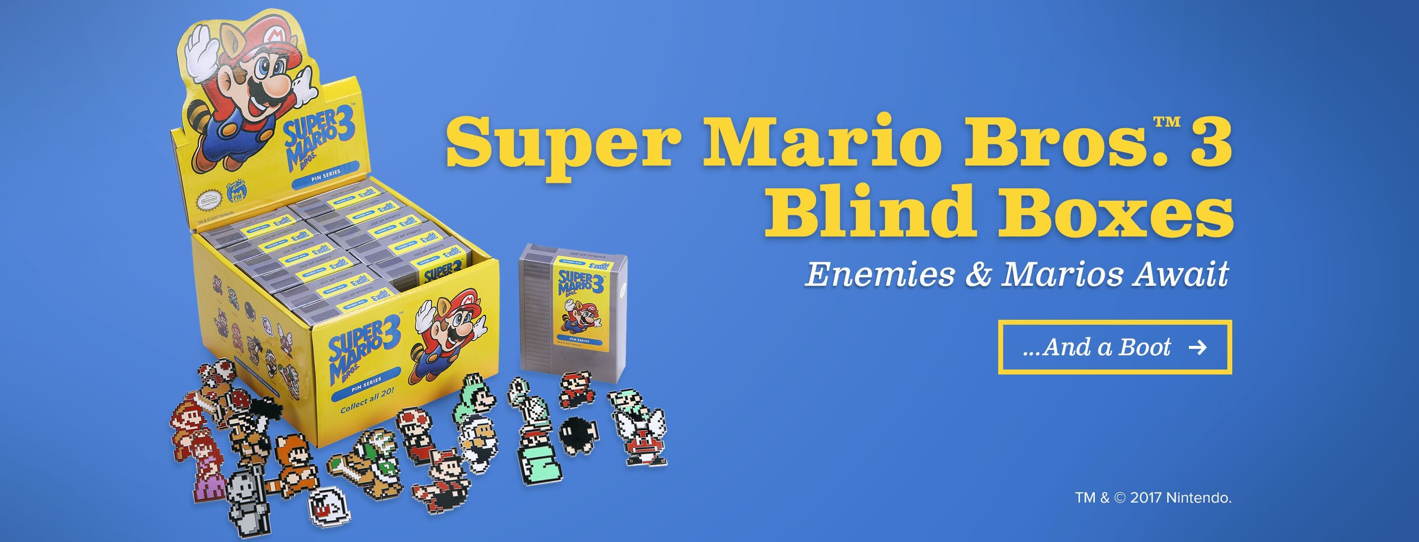 Super Mario Bros. 3 Blind Box. Enemies and Marios Await. ...And a Boot.