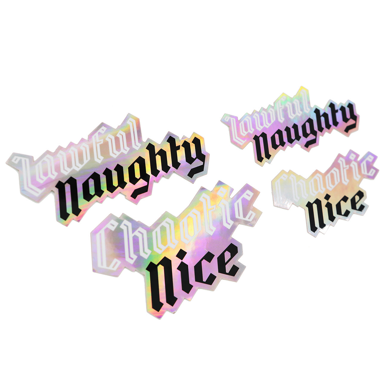 Chaotic Nice & Lawful Naughty Sticker Set - Free with $35 Purchase