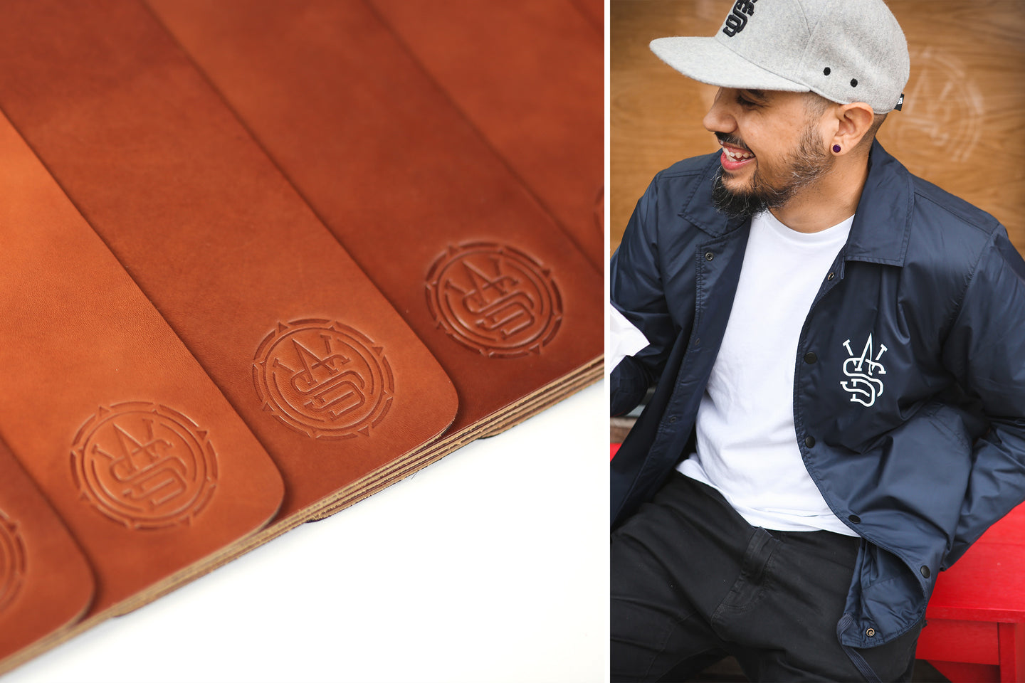 WASD Leather Mouse Pad - Detail, WASD Coaches Jacket & WASD Wool 6-Panel Hat
