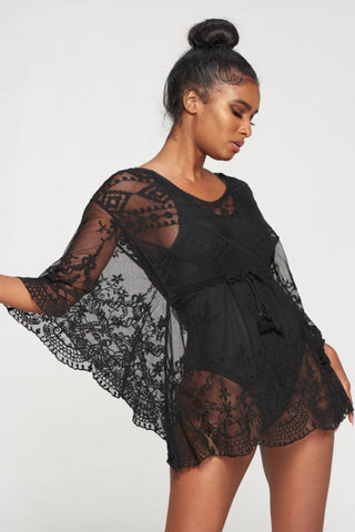 Black Lace Cover up with Strap Belt