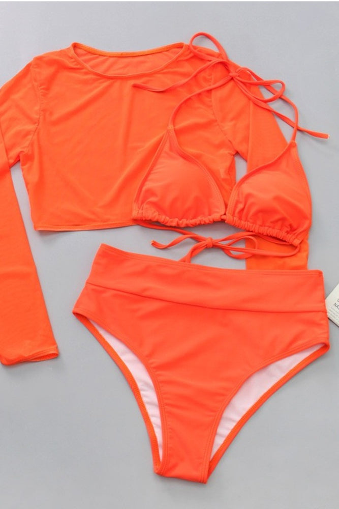 Orange Two Piece Bikini Coverup Swimsuit Swimwear Bathing Suit