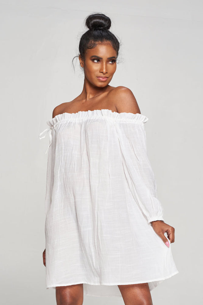 Off Shoulder White Coverup Swimsuit Swimwear Bathing Suit
