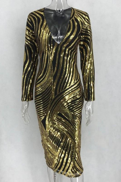 Plus Size Gold line Sequined V neck dress