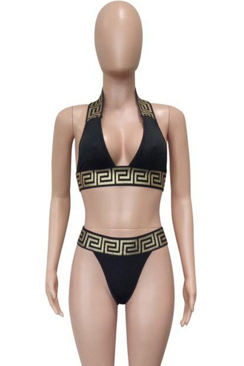 Plus Size  Crop Top Bandage Swimsuit Black