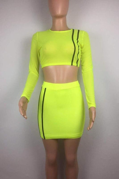 Plus size Neon Mesh Crop Top and Skirt Set