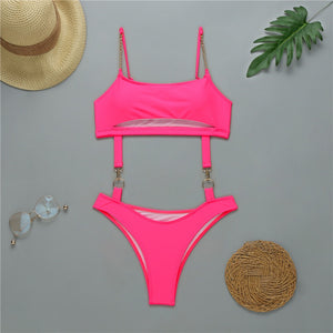 HS Pink Metallic Swimsuit with Chain Straps