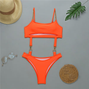 HS Orange Metallic Swimsuit with Chain Straps