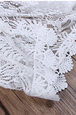 White Lace Coverup Satin Ribbon Belt Swimsuit Swimwear Bathing Suit