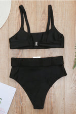 Black High Waisted Two Piece Bikini Set