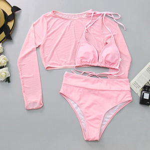 HSPink  Two Piece Bikini Set with Cover Top