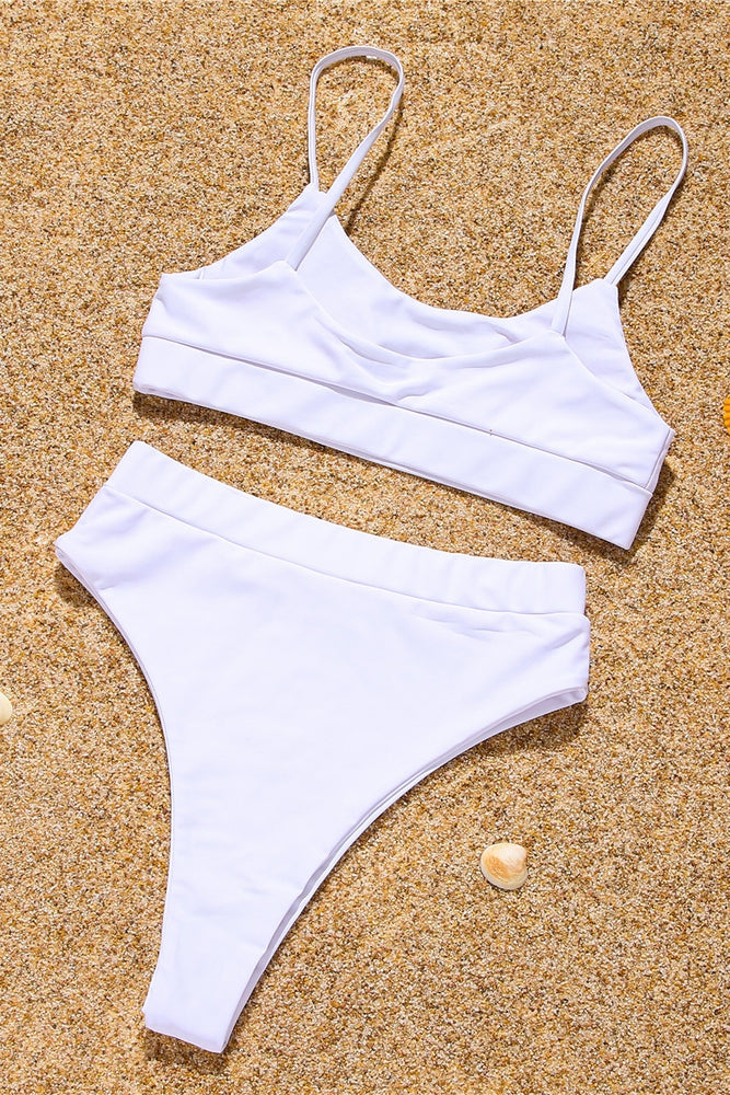 Studded White High Waist Bikini Swimsuit Swimwear Bathing Suit