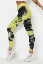 High Waist Waffle Tie Dye Leggings S / Color4