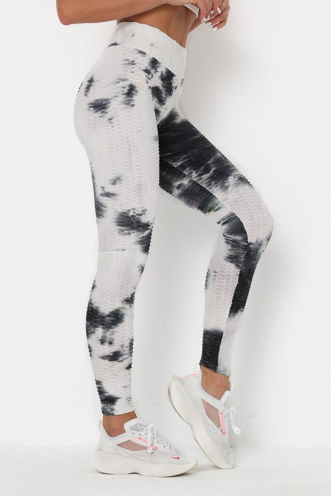 High Waist Waffle Tie Dye Leggings S / Color8