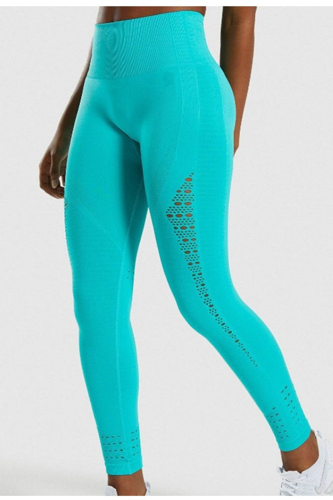 High Waist Perforated Yoga Pants S / C3 Leggings