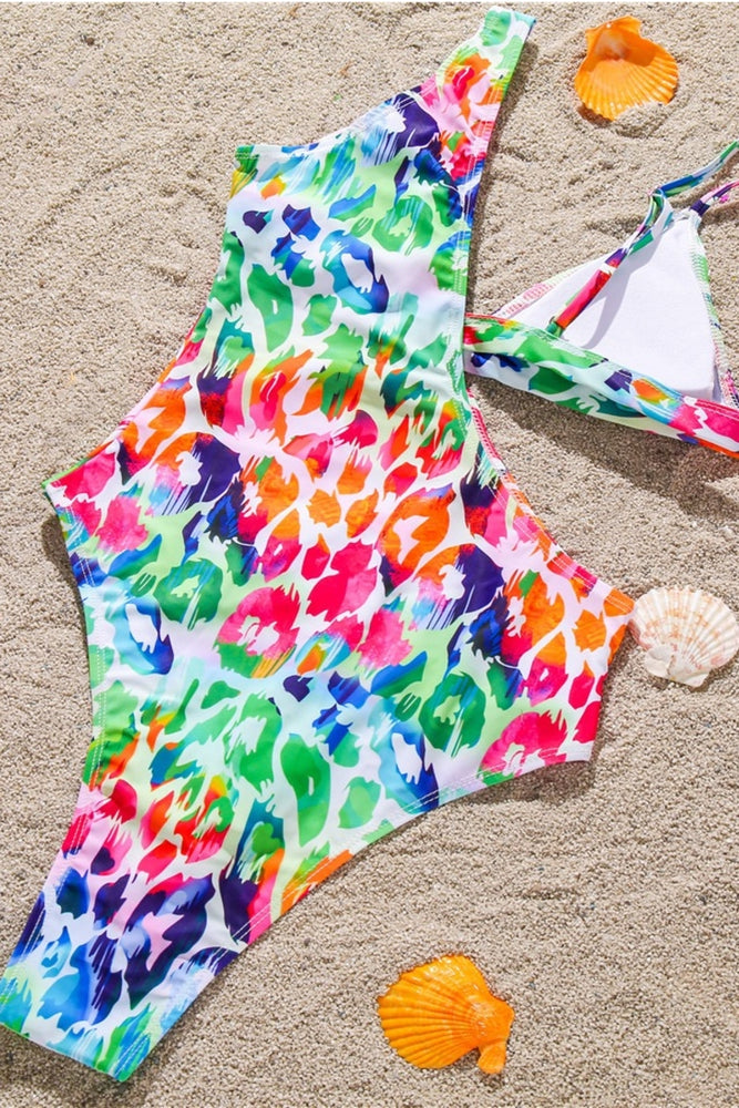 Multi Color  Cut Out One Piece Swimsuit Swimwear Bathing Suit
