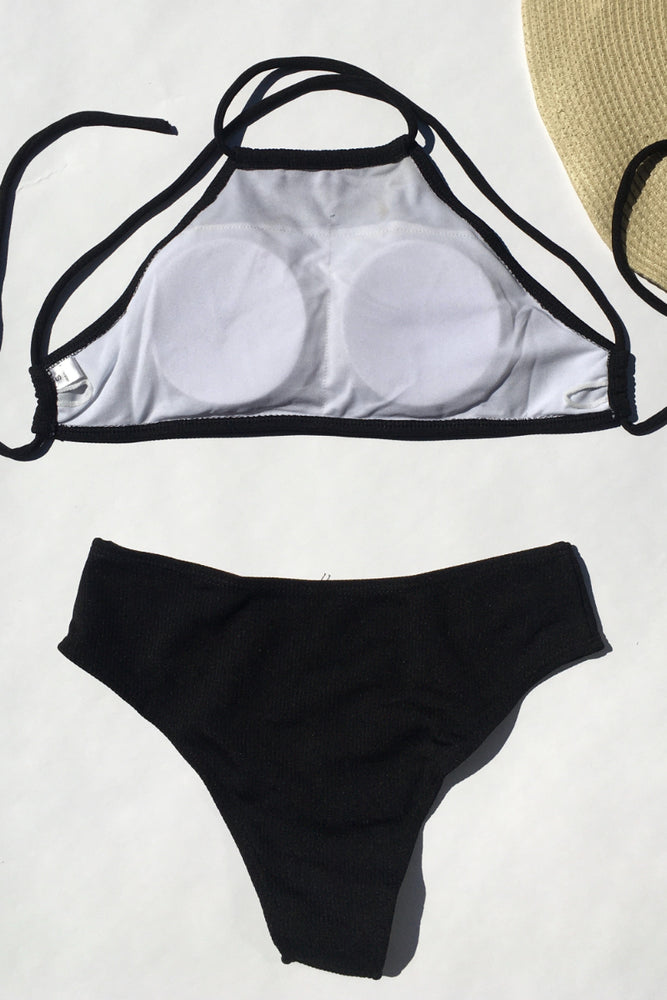 Black Ribbed Fabric Halter Neck Swimsuit Swimwear Bathing Suit