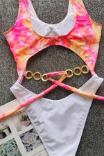 Tie Dye One Piece Swimsuit Chain Belot Swimwear
