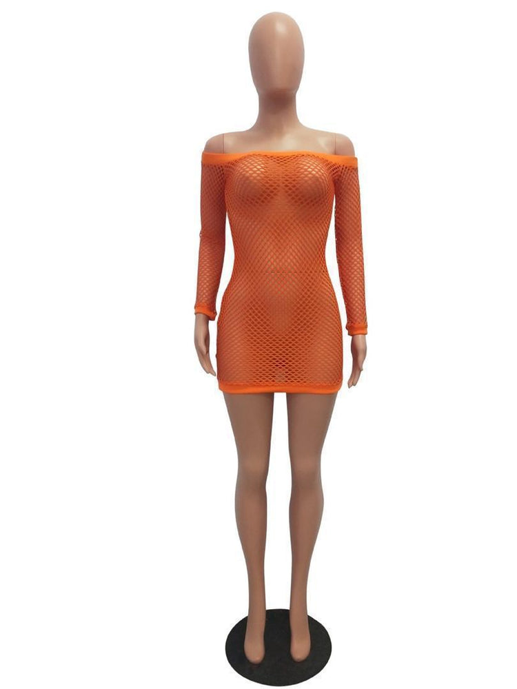 Orange Fishnet Dress Swimsuit Cover Up