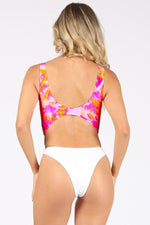 Tie Dye One Piece Swimsuit With Chain Belt Swimwear
