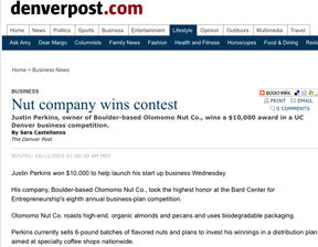 Olomomo Nut Company Wins Business Plan Contest for Nuts with coffee Denver Post article