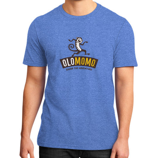 District T-Shirt (on man) Heather blue OLOMOMO Nut Company