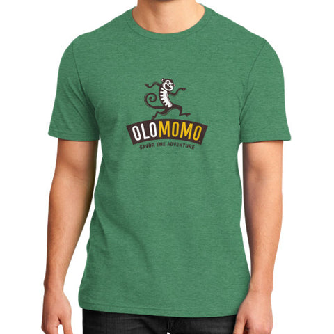 District T-Shirt (on man) Heather green OLOMOMO Nut Company