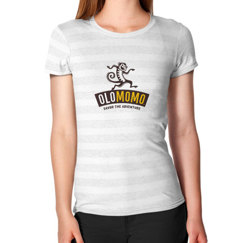 Women's T-Shirt Ash White Stripe OLOMOMO Nut Company