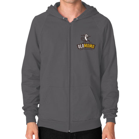 Zip Hoodie (on man) Asphalt OLOMOMO Nut Company