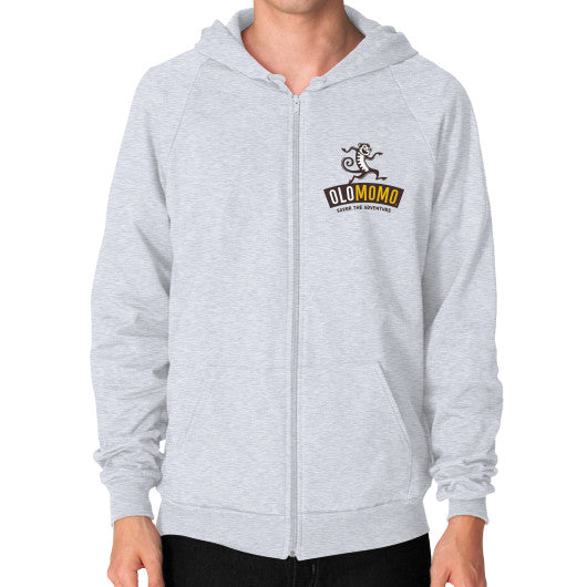 Zip Hoodie (on man) Heather grey OLOMOMO Nut Company