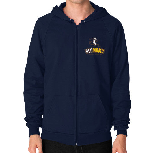 Zip Hoodie (on man) Navy OLOMOMO Nut Company