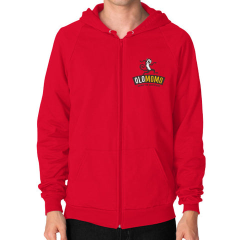 Zip Hoodie (on man) Red OLOMOMO Nut Company