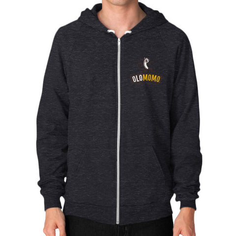 Zip Hoodie (on man) Tri-Blend Black OLOMOMO Nut Company