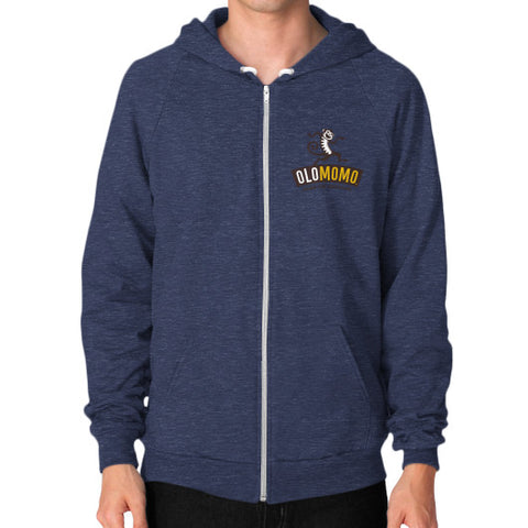 Zip Hoodie (on man) Tri-Blend Navy OLOMOMO Nut Company