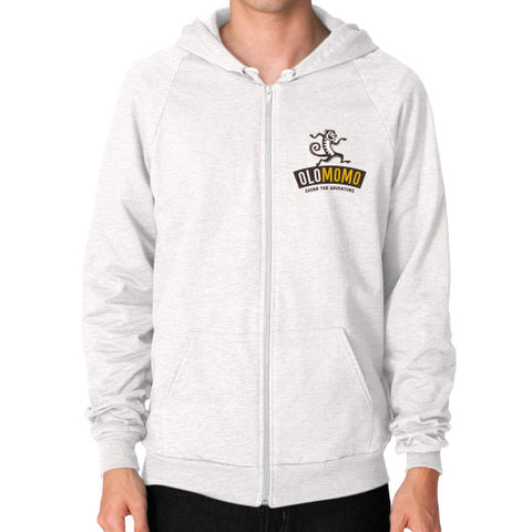 Zip Hoodie (on man) Tri-Blend Oatmeal OLOMOMO Nut Company