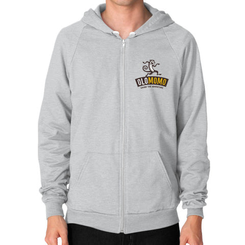 Zip Hoodie (on man) Tri-Blend Silver OLOMOMO Nut Company