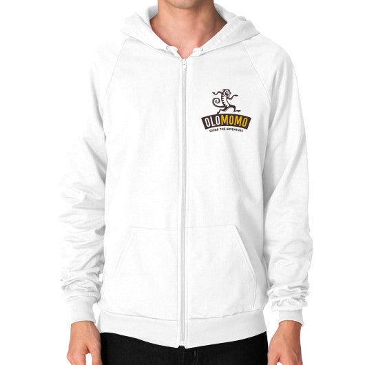 Zip Hoodie (on man) White OLOMOMO Nut Company