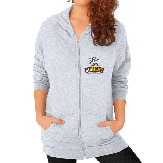 Zip Hoodie (on woman) Heather grey OLOMOMO Nut Company
