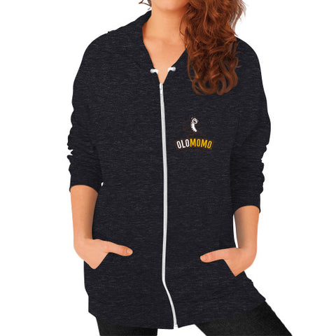 Zip Hoodie (on woman) Tri-Blend Black OLOMOMO Nut Company