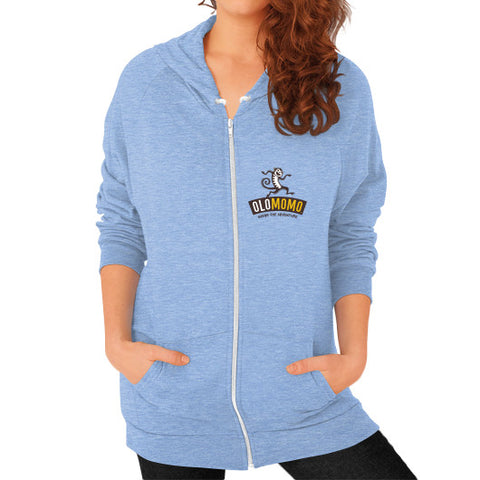Zip Hoodie (on woman) Tri-Blend Blue OLOMOMO Nut Company