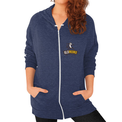 Zip Hoodie (on woman) Tri-Blend Navy OLOMOMO Nut Company