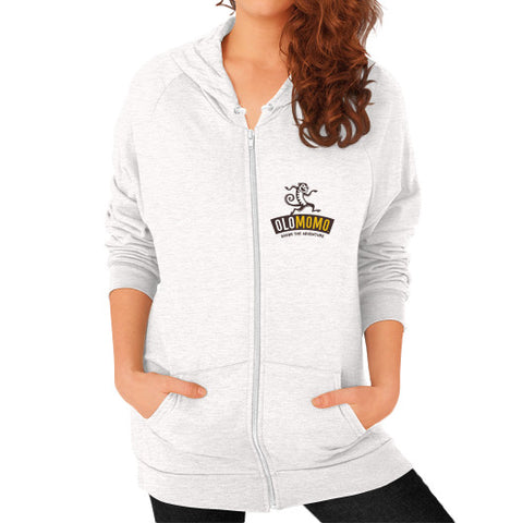 Zip Hoodie (on woman) Tri-Blend Oatmeal OLOMOMO Nut Company