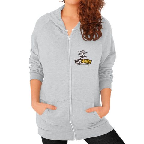 Zip Hoodie (on woman) Tri-Blend Silver OLOMOMO Nut Company