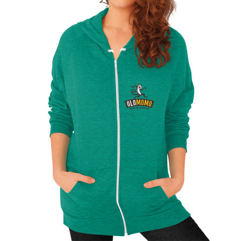 Zip Hoodie (on woman) Tri-Blend Vintage Green OLOMOMO Nut Company