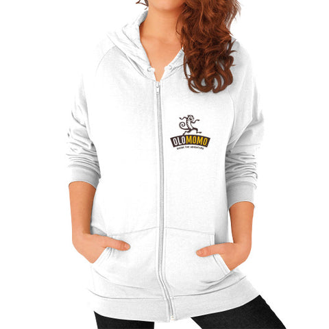 Zip Hoodie (on woman) White OLOMOMO Nut Company
