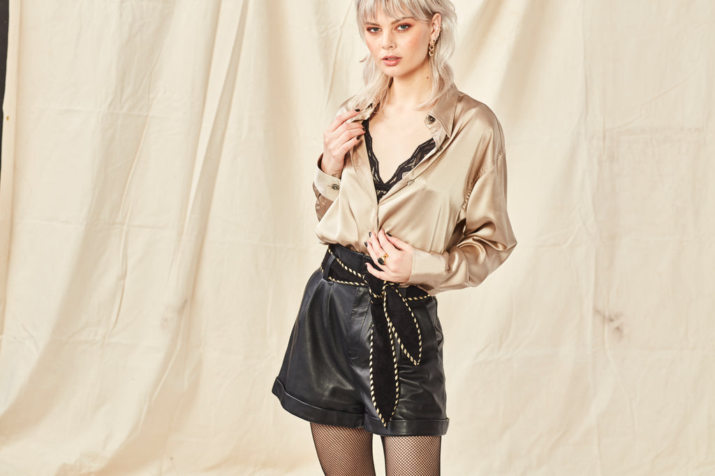 Hideseekers Elastica Silk Shirt and Leather Shorts