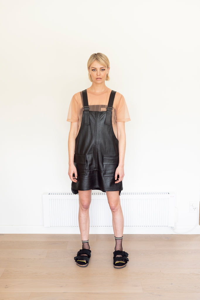 AW20 LEATHER PINAFORE