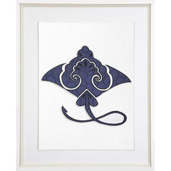 Bandhini Navy Manta Ray Framed Artwork