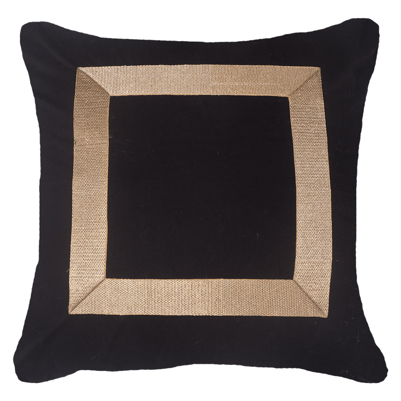 Bandhini Black & Gold Braid Cross Cushion