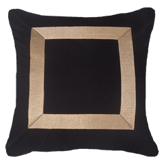 Bandhini Black & Gold Braid Euro Cushion Cover