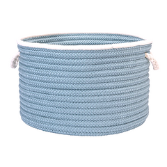 Doodle Edge Braided Basket Cloud Blue